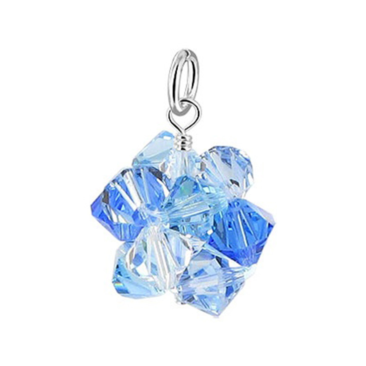 Blue & Clear Bicone Ball Shape Crystal 925 Silver Pendant