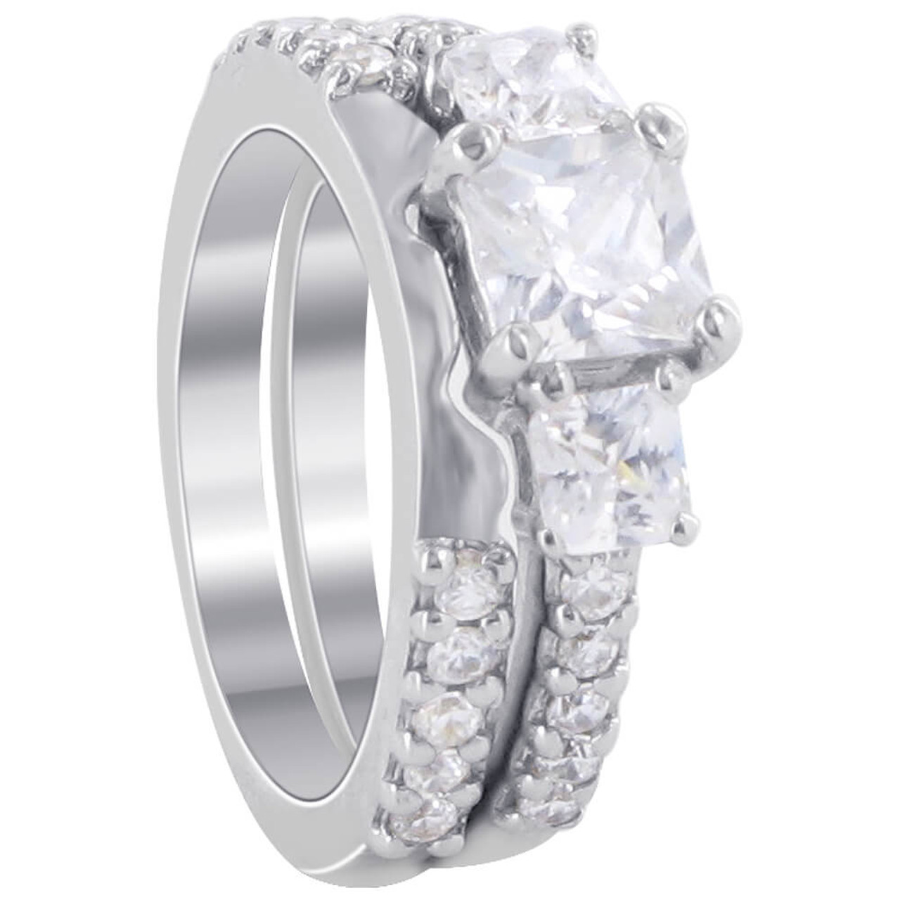 Cubic Zirconia Ring CZ Engagement Ring Sterling Silver Stacking Ring April Birthstone Gift for Her