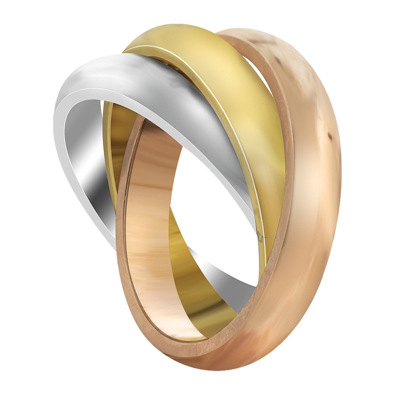 Stainless Steel Three Tone Triple 4mm Band