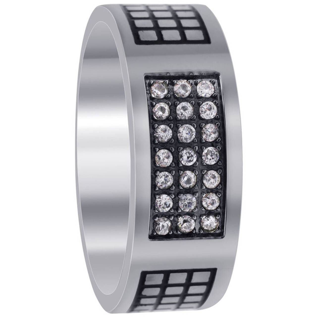 Stainless Steel Engraved Pave Set Clear Cubic Zirconia 8mm Band