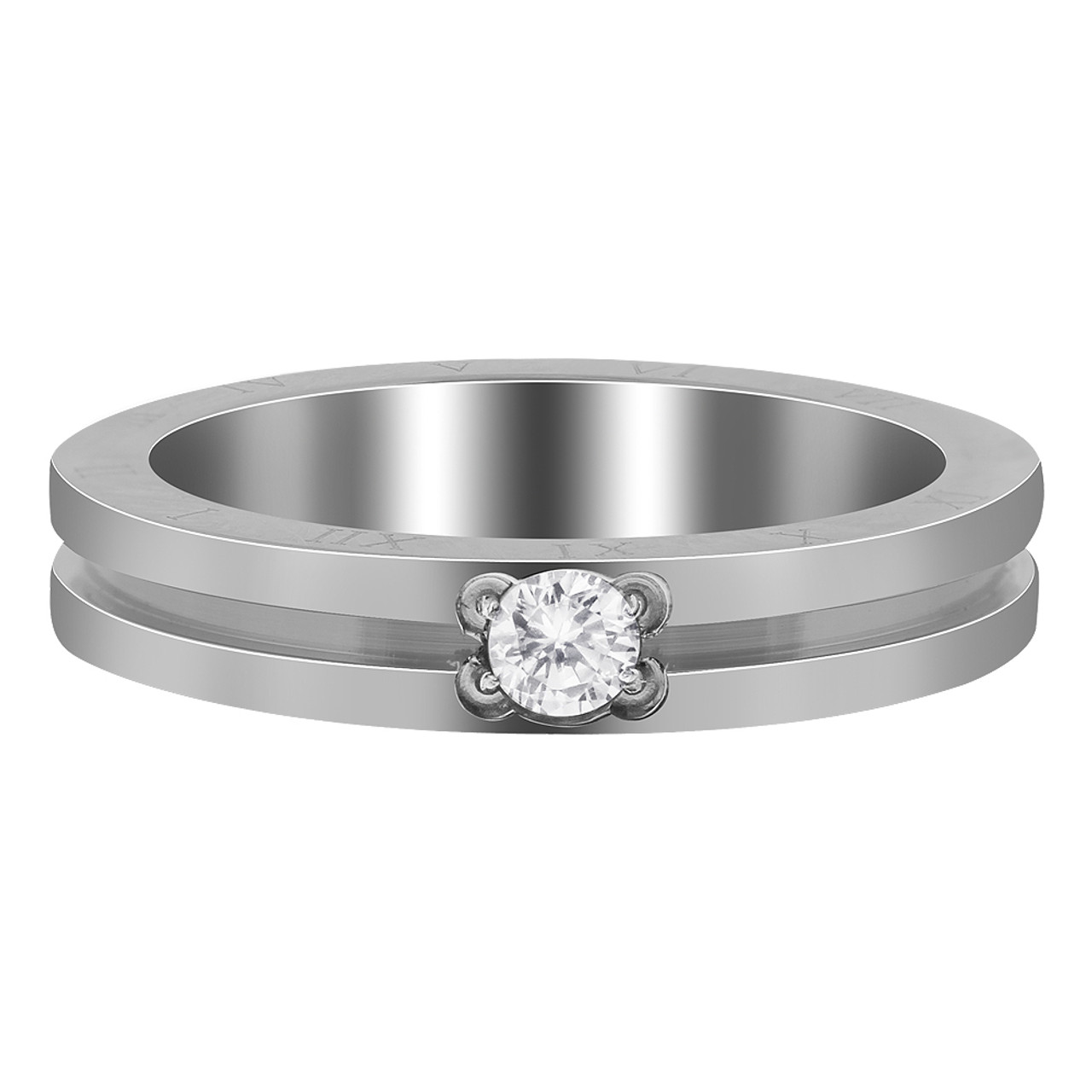 Stainless Steel Grooved Slim CZ & Roman Numbers Ring