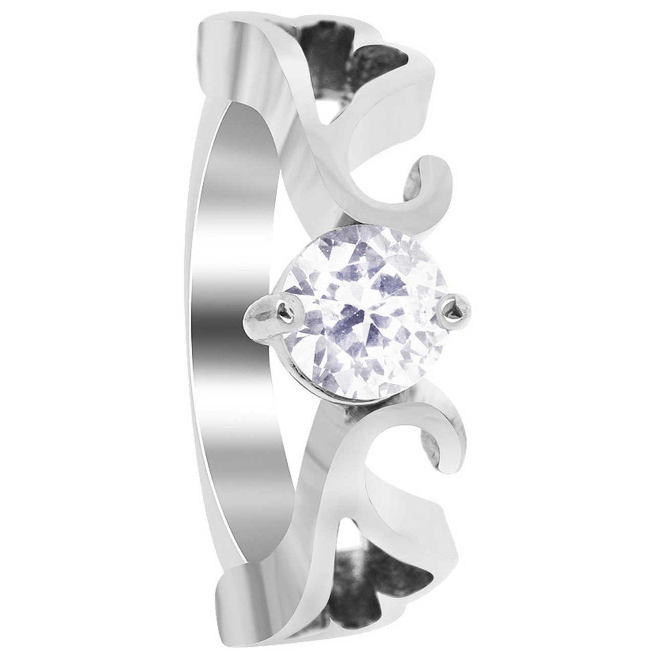 Stainless Steel Heart Swirl Design with Cubic Zirconia Ring