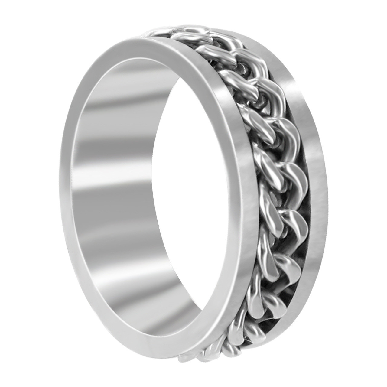 Stainless Steel 8mm Band with Chain Inlay