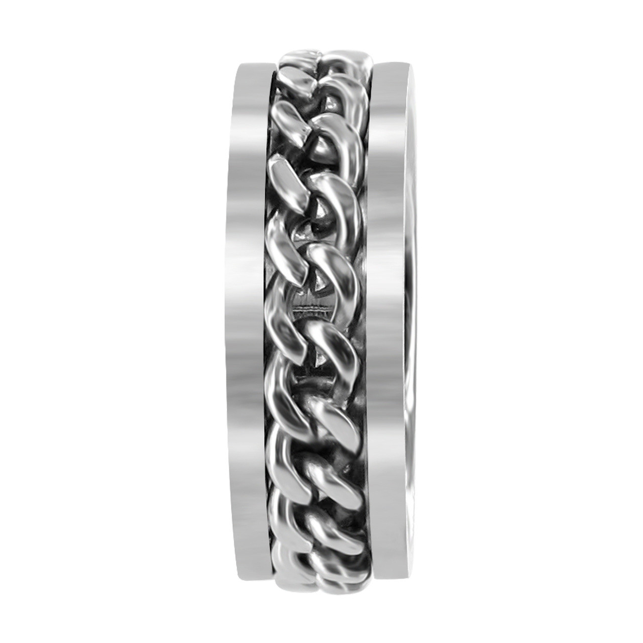 Stainless Steel 8mm Band with Chain Inlay #LWSSR004