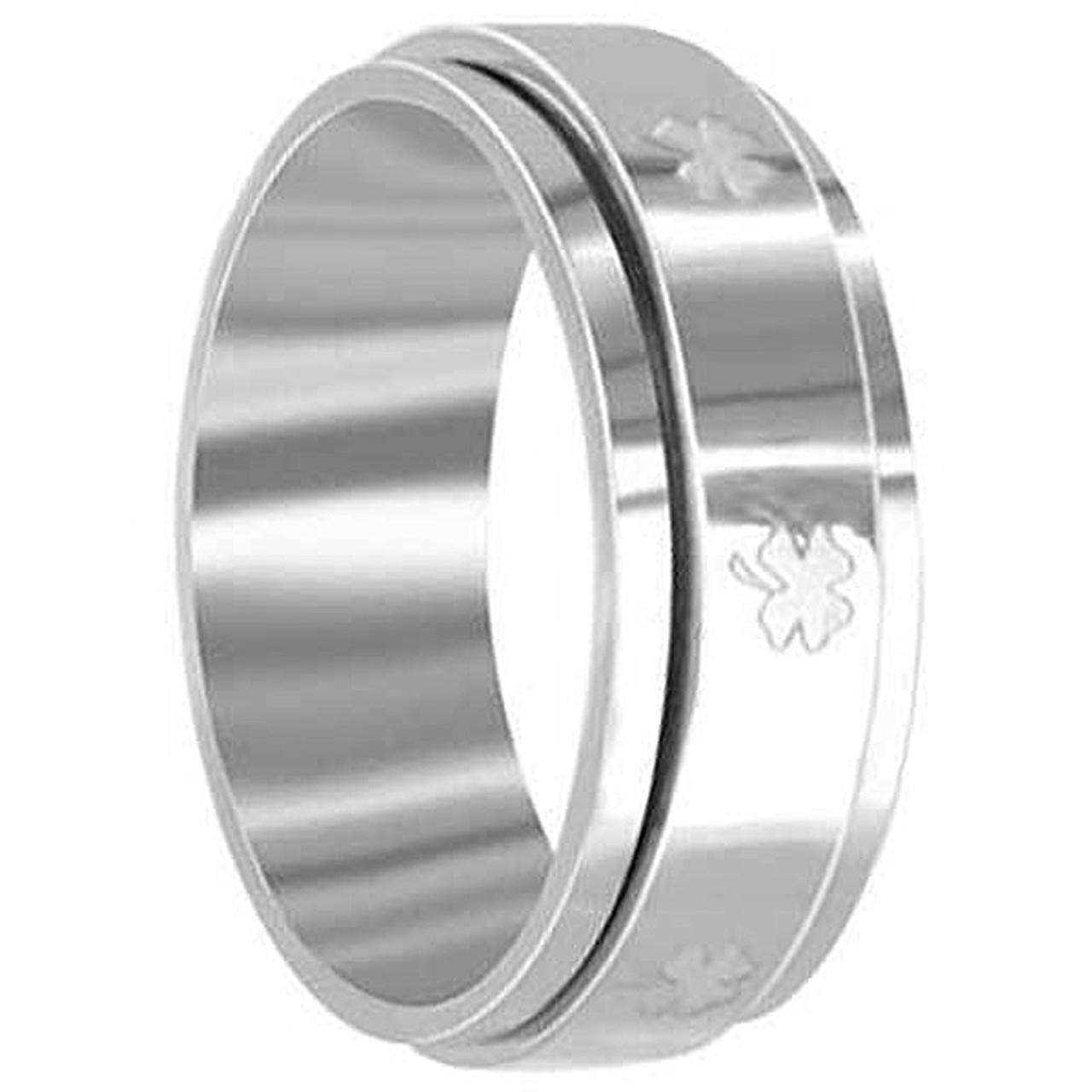 Stainless Steel 8mm Spinner Band with Lucky Four Leaf Clover Engraved