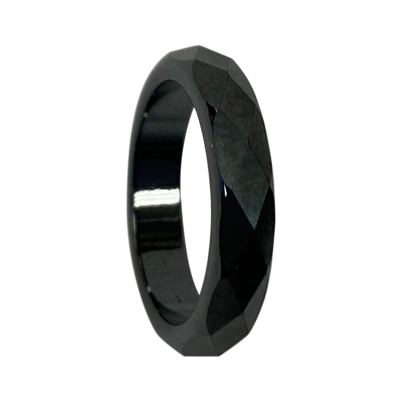 Simulated Hematite Magnetic Multifaceted 4mm Band
