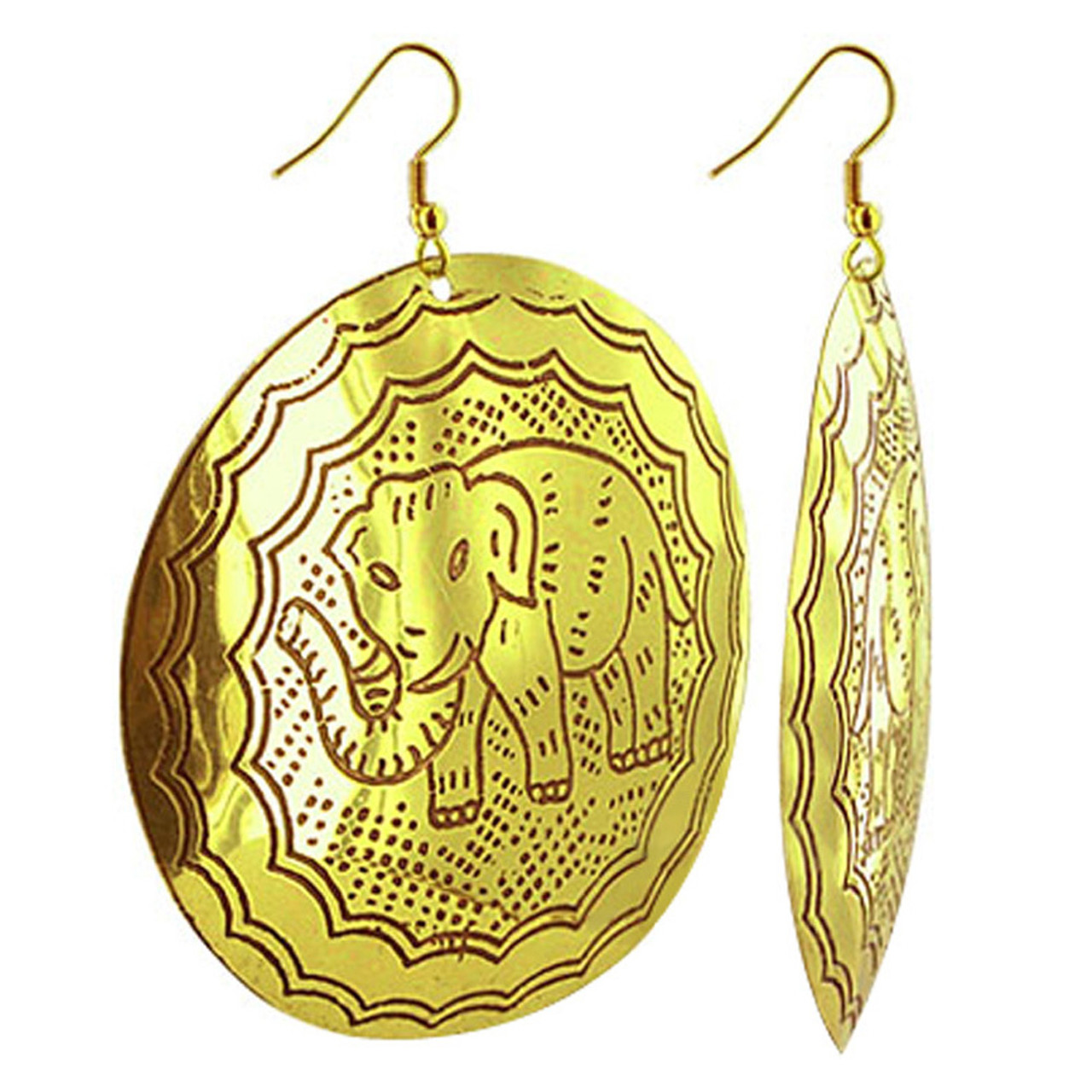 Elephant Drawing Engraved 2.5 inch 3 inch Disk Fashion Drop Earrings French Ear Wire Hook Findings