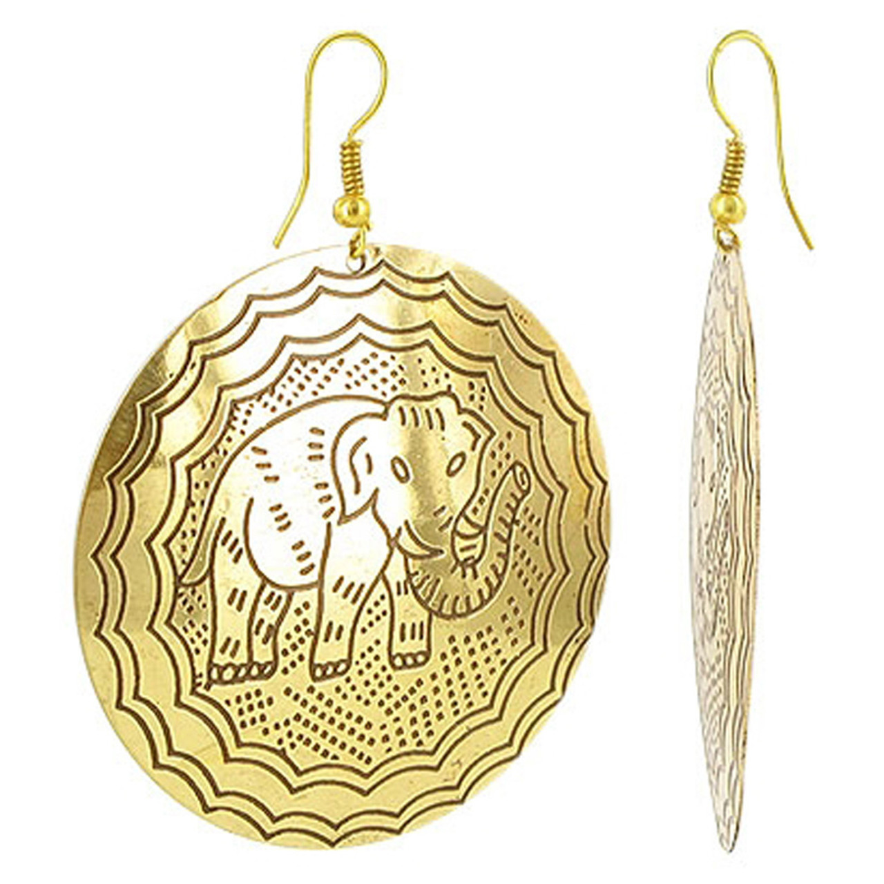 Gold Tone Round 1.9 inch Elephant Designer 1.8 inch French Wire Findings Fashion Drop Earrings