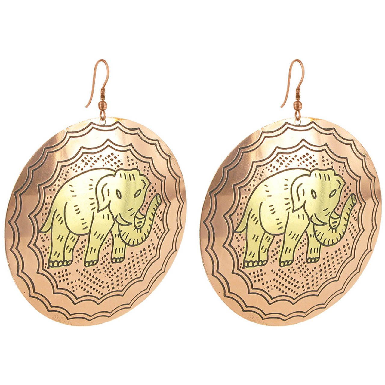 2.4 inch Round Elephant Designer Fashion Drop Earrings with French Wire Findings