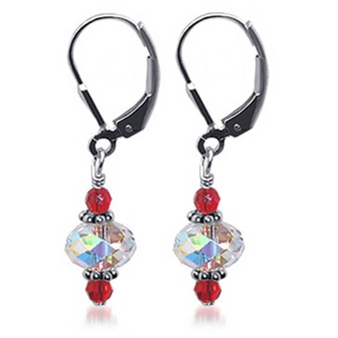 7ff3aa985eef7 925 Silver Made with Swarovski Elements Red and Clear Crystal Handmade  Leverback Drop Earrings