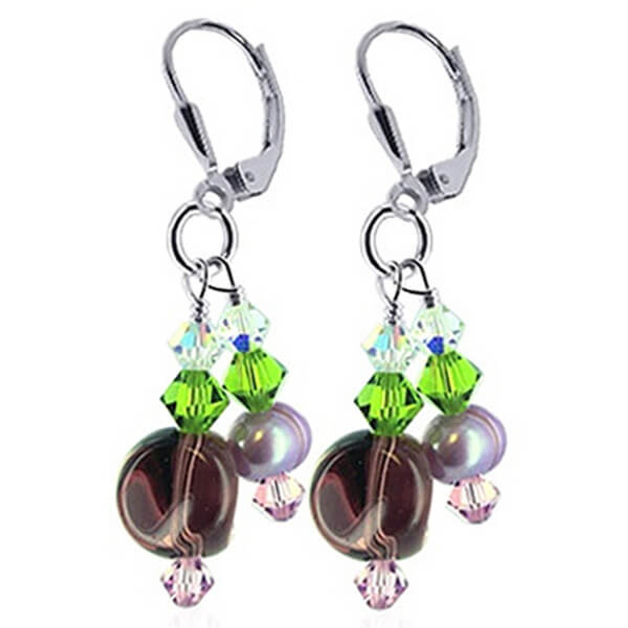 Freshwater Pearl and Green Pink Clear Crystal Handmade Leverback Dangle Earrings
