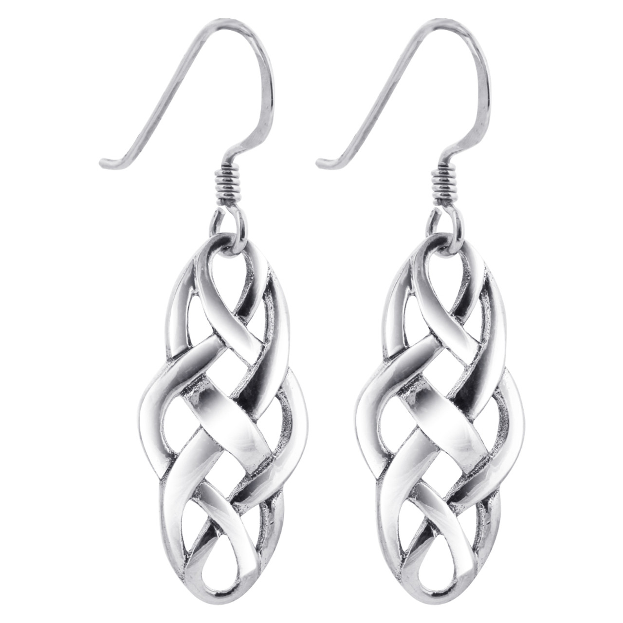 cd176aaa4 Sterling Silver Celtic Knot French Wire Dangle Earrings LWES066