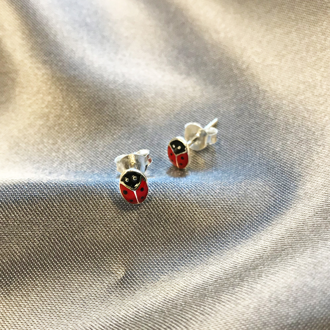 Sterling Silver Red Ladybug Post Back Stud Earrings