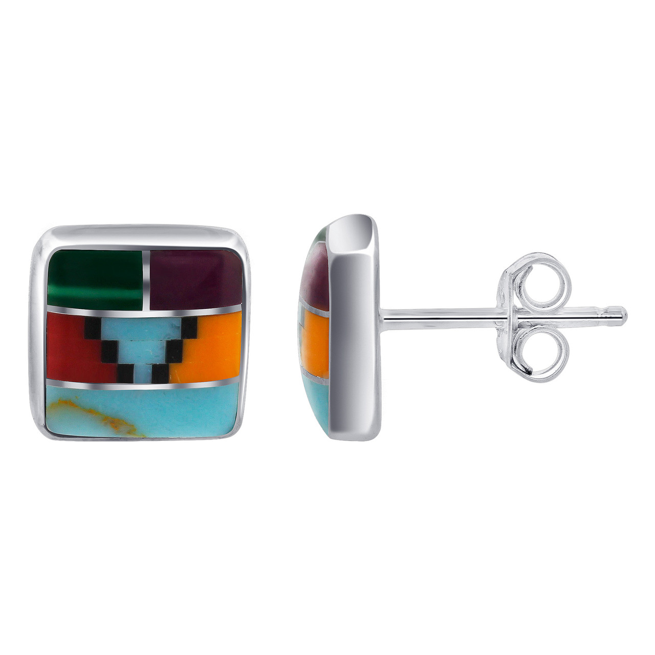 Sterling Silver Coral and Turquoise Stud Earrings