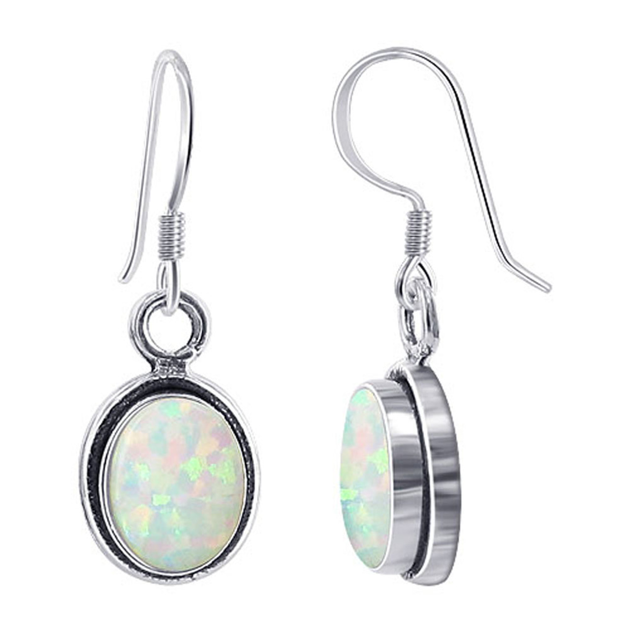 5841492caa5df Oval Created White Opal October Birthstone Gemstone 925 Sterling Silver  Drop Earrings