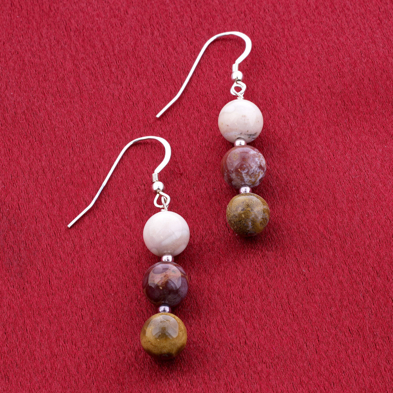 925 Sterling Silver white Red and Brown Jasper Beads Drop Earrings