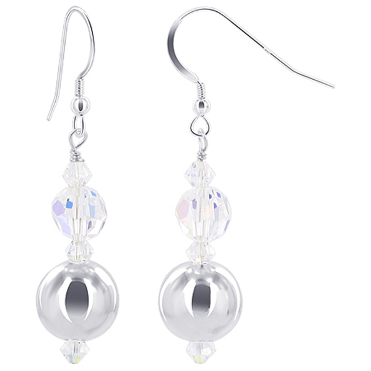 92afbf49230f3 925 Sterling Silver Round Ball with Swarovski Elements Clear AB Crystal  Handmade Drop Earrings