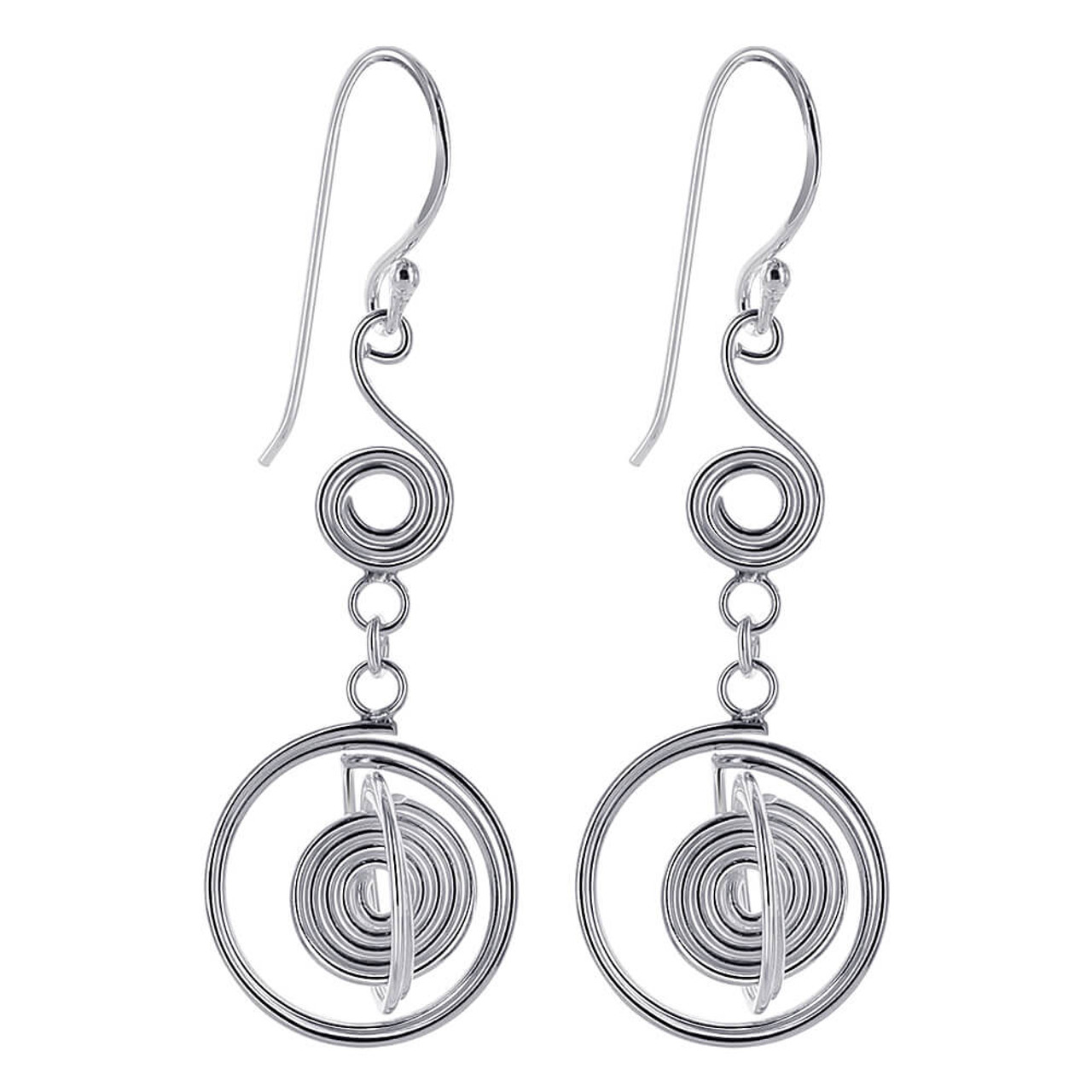 Coiled Wire Design Dangle Earrings