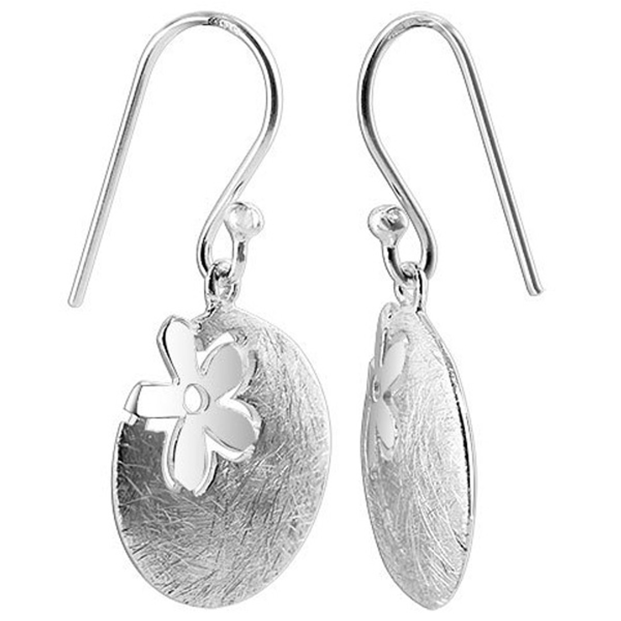 925 Sterling Silver 16mm Scratch finish Disc with Flower French hook Drop Earrings