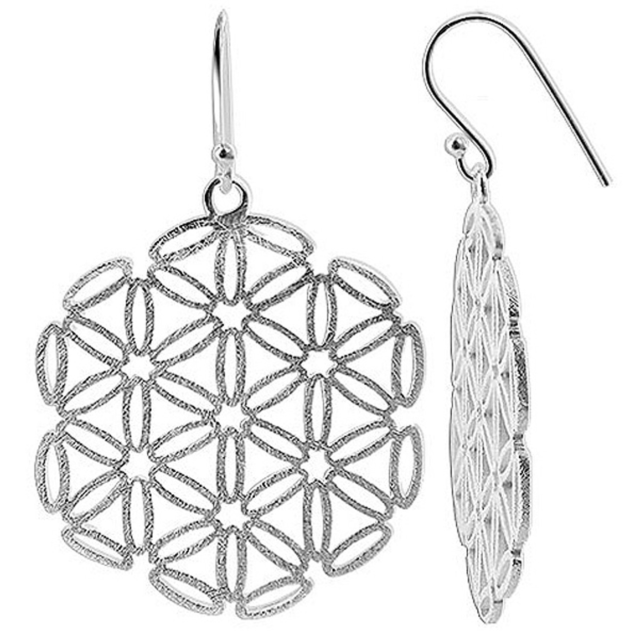 925 Sterling Silver Geometric Snowflake with Scratched finish French wire Drop Earrings