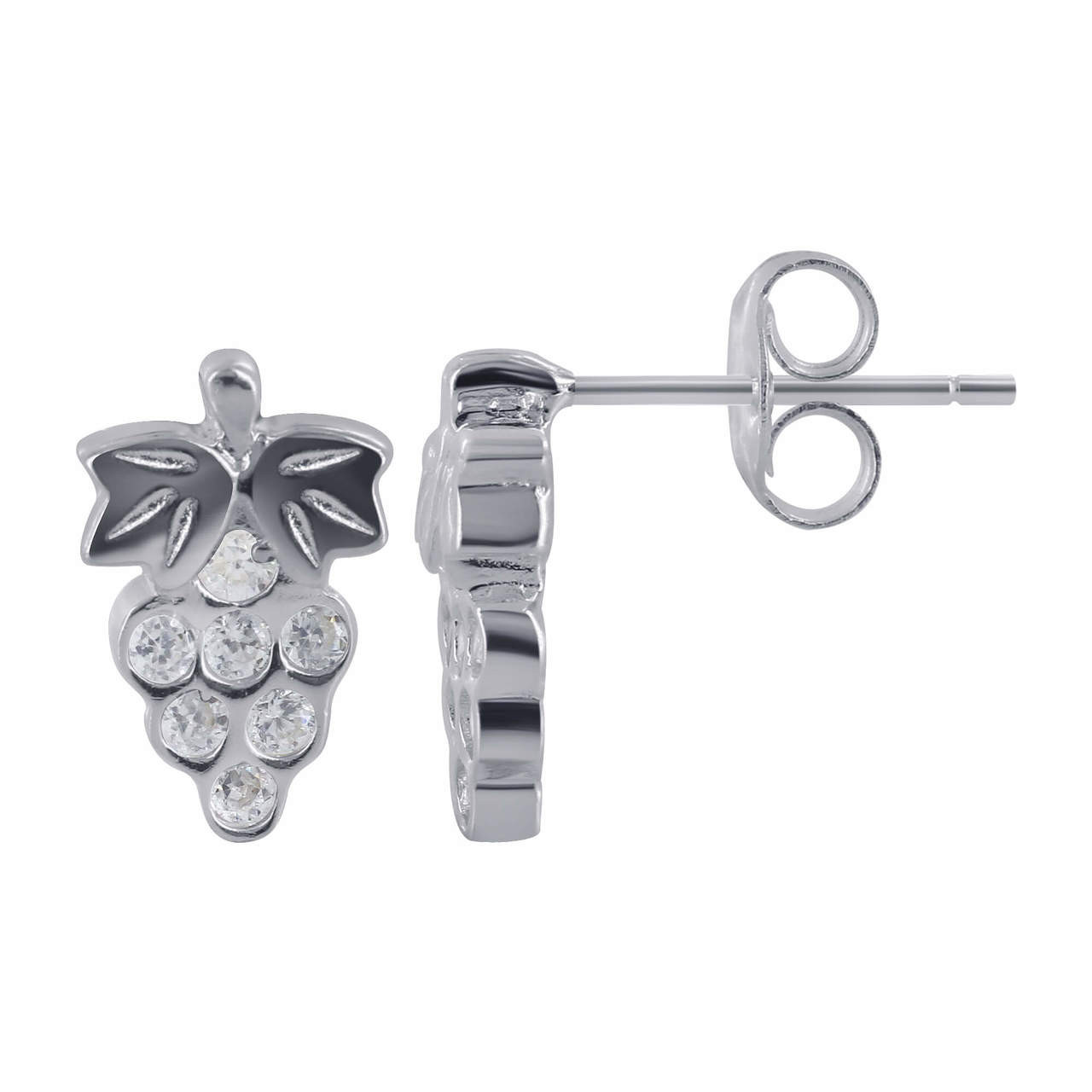 925 Sterling Silver Cubic Zirconia Studded Grapes Post Back Stud Earrings