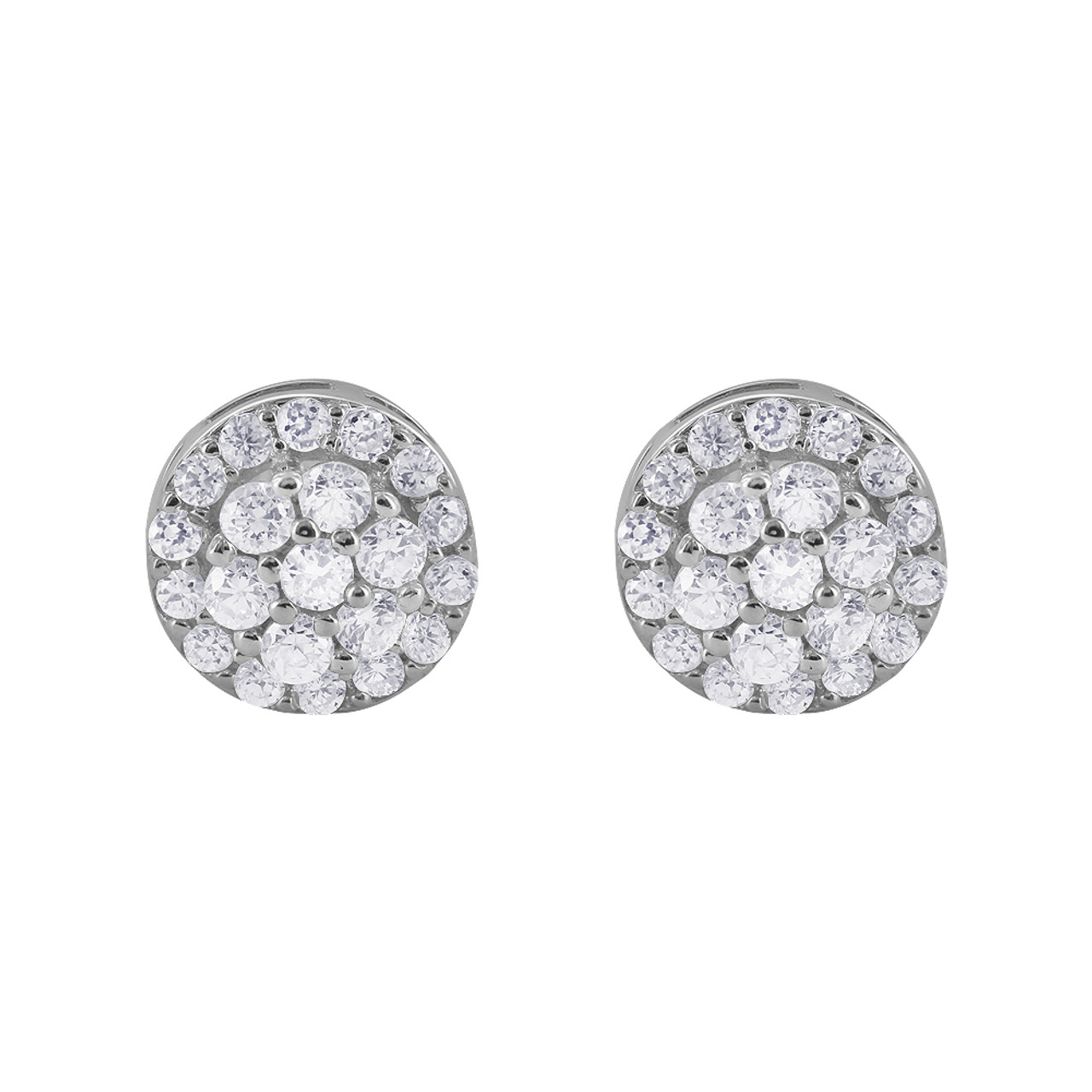 925 Sterling Silver 2mm Round Cubic Zirconia Studded Post Back Earrings