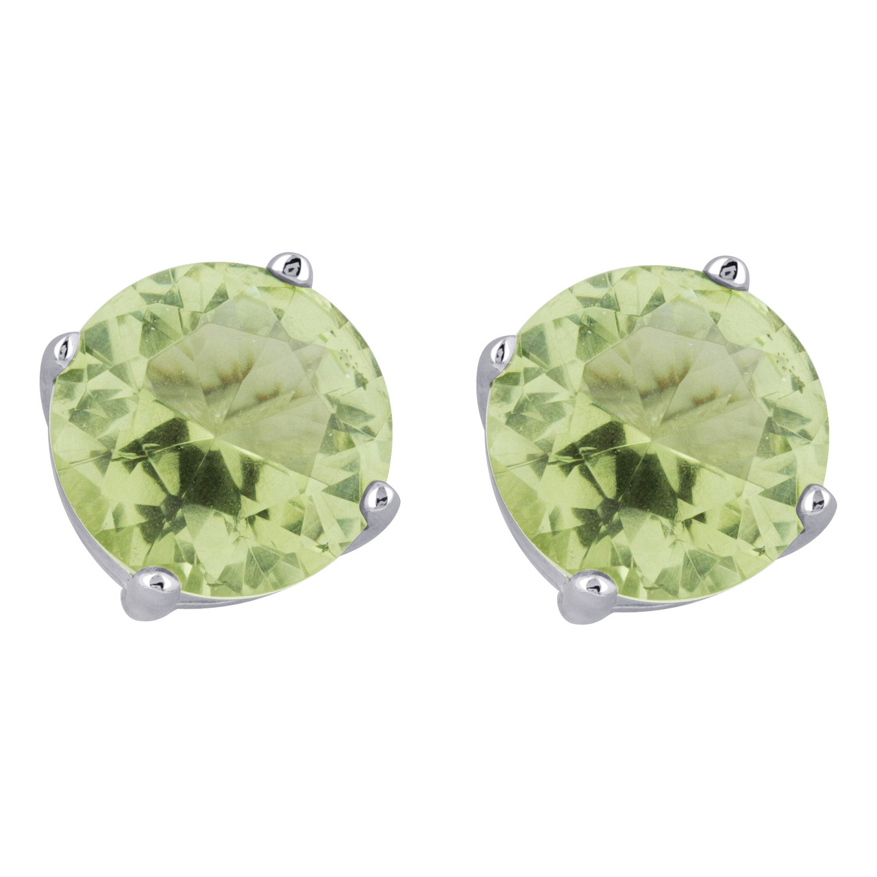 Round Green Cubic Zirconia Sterling Silver Stud Earring Pendant Set
