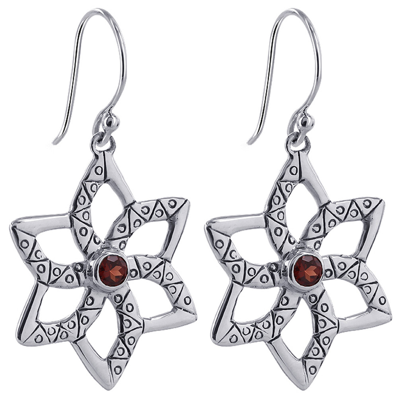 0bb784ee17d80 Round Ruby Cubic Zirconia Star Design 925 Sterling Silver Earrings