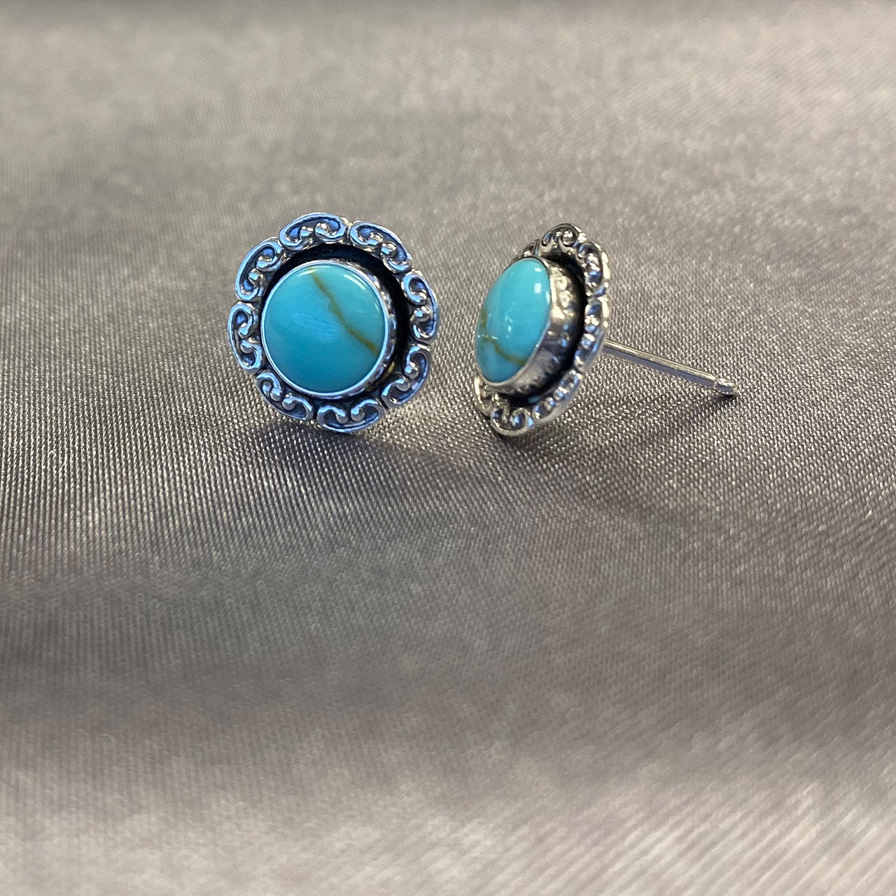925 Sterling Silver 10mm Round Simulated Turquoise Gemstone Post Back Stud Earrings