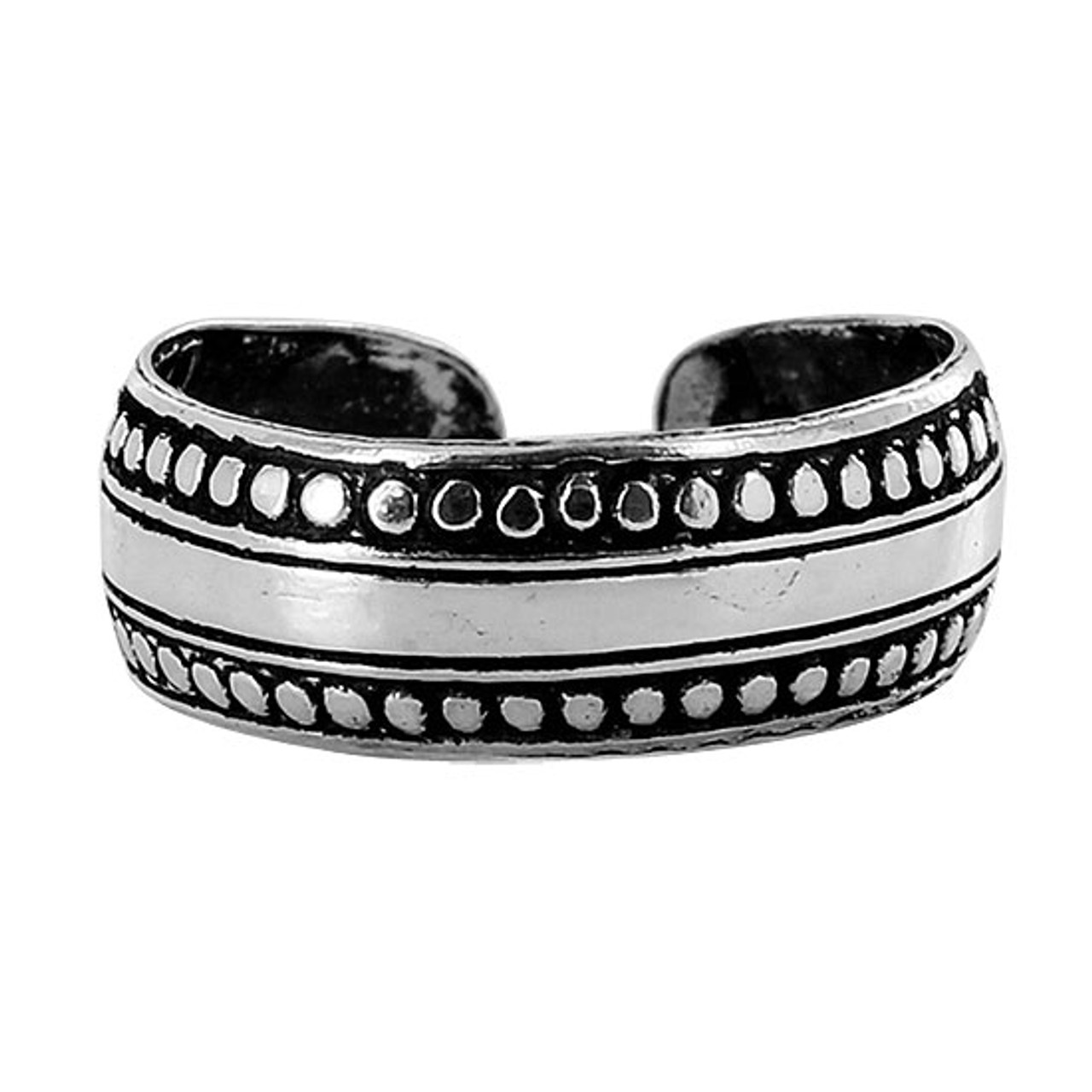 Sterling Silver Dotted Design Toe Ring