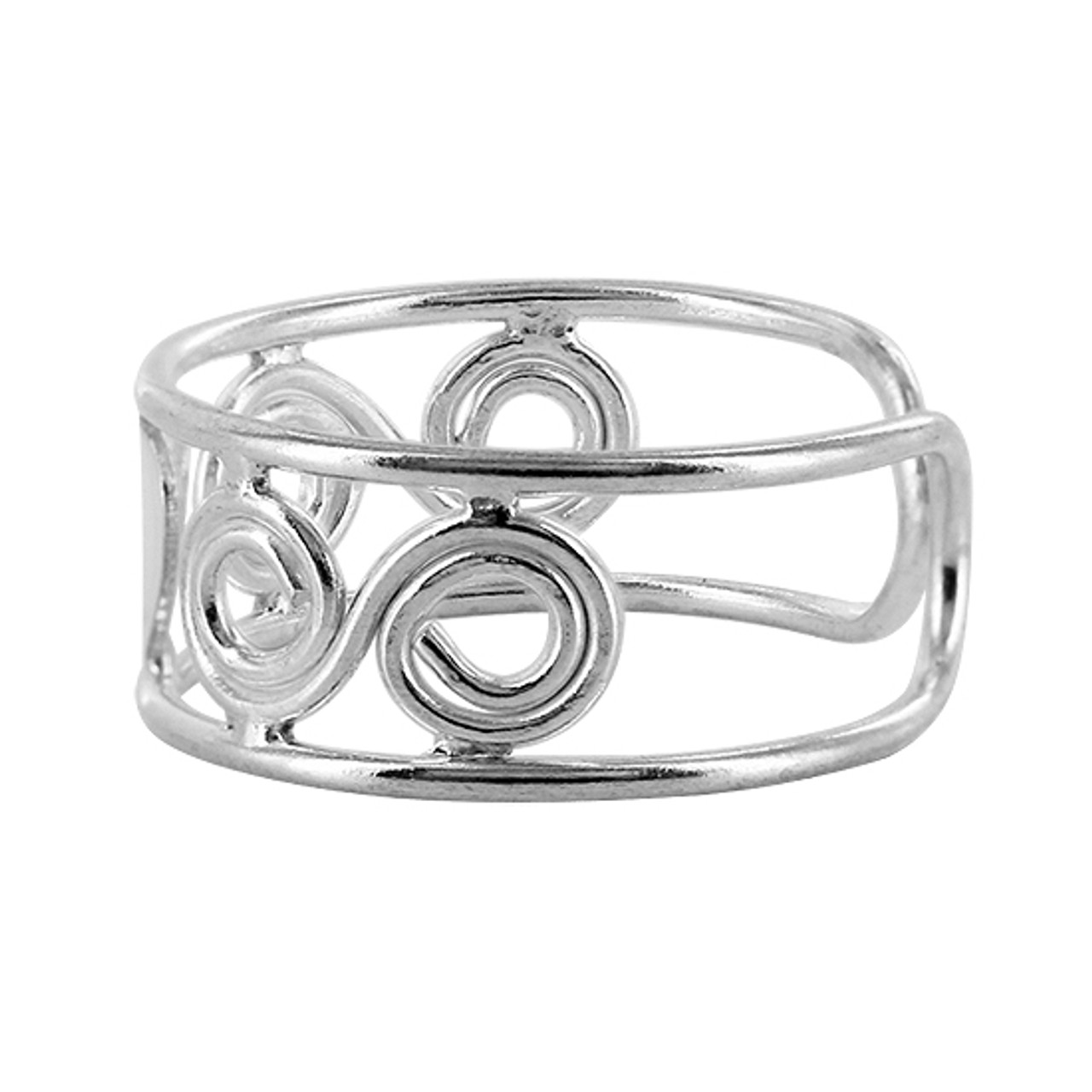Sterling Silver Swirls and Single Heart Design Toe Ring