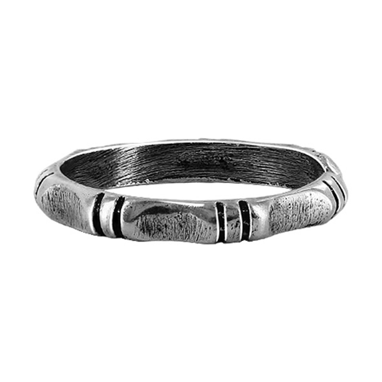 925 Sterling Silver Slim Hammered Joints Design Toe Ring for Women #T012
