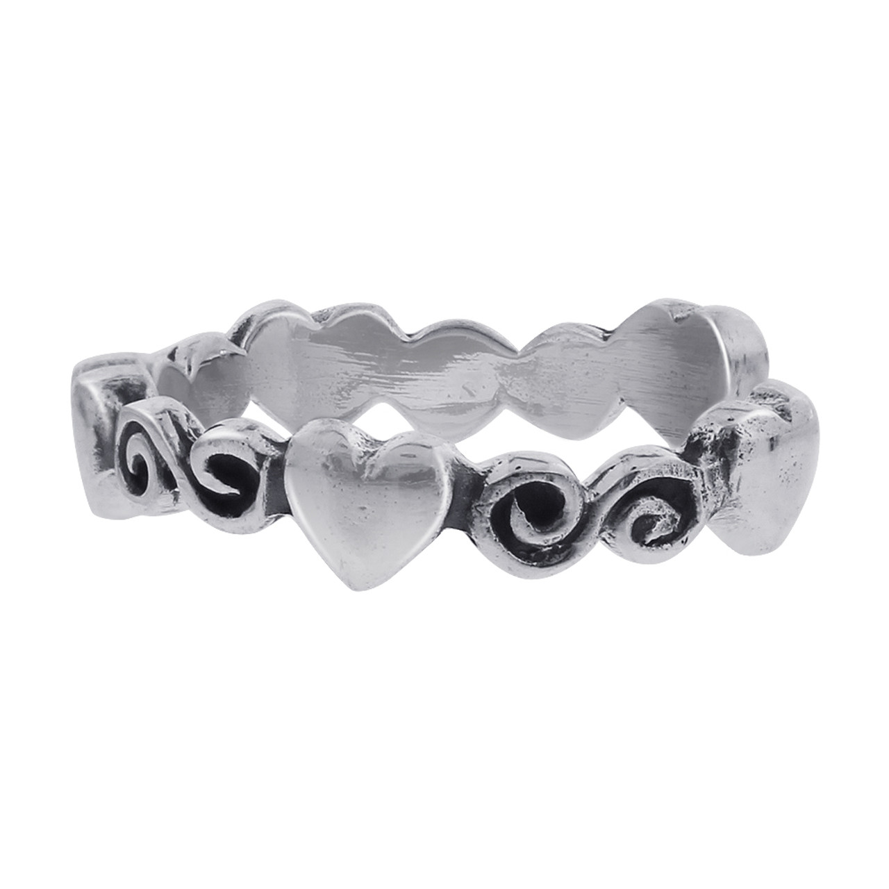 925 Sterling Silver Heart and Swirl Design Toe Ring