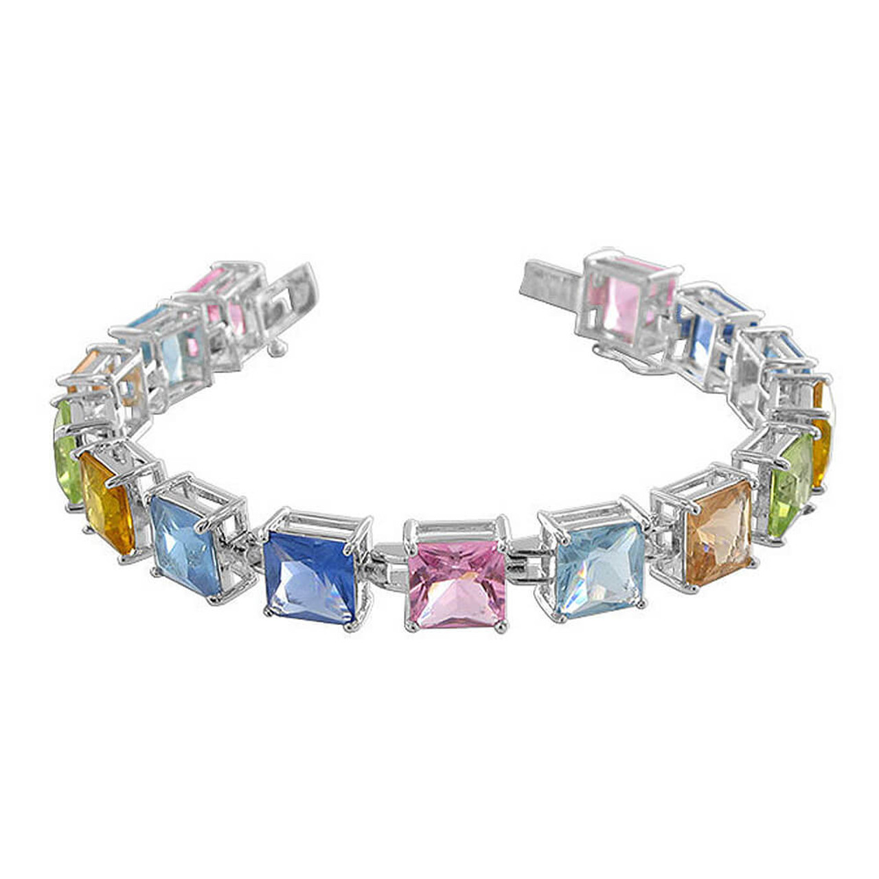 Sterling Silver Square cut Multicolor CZ 7 5 inch Link Bracelet Box with  Tongue & safety Clasp