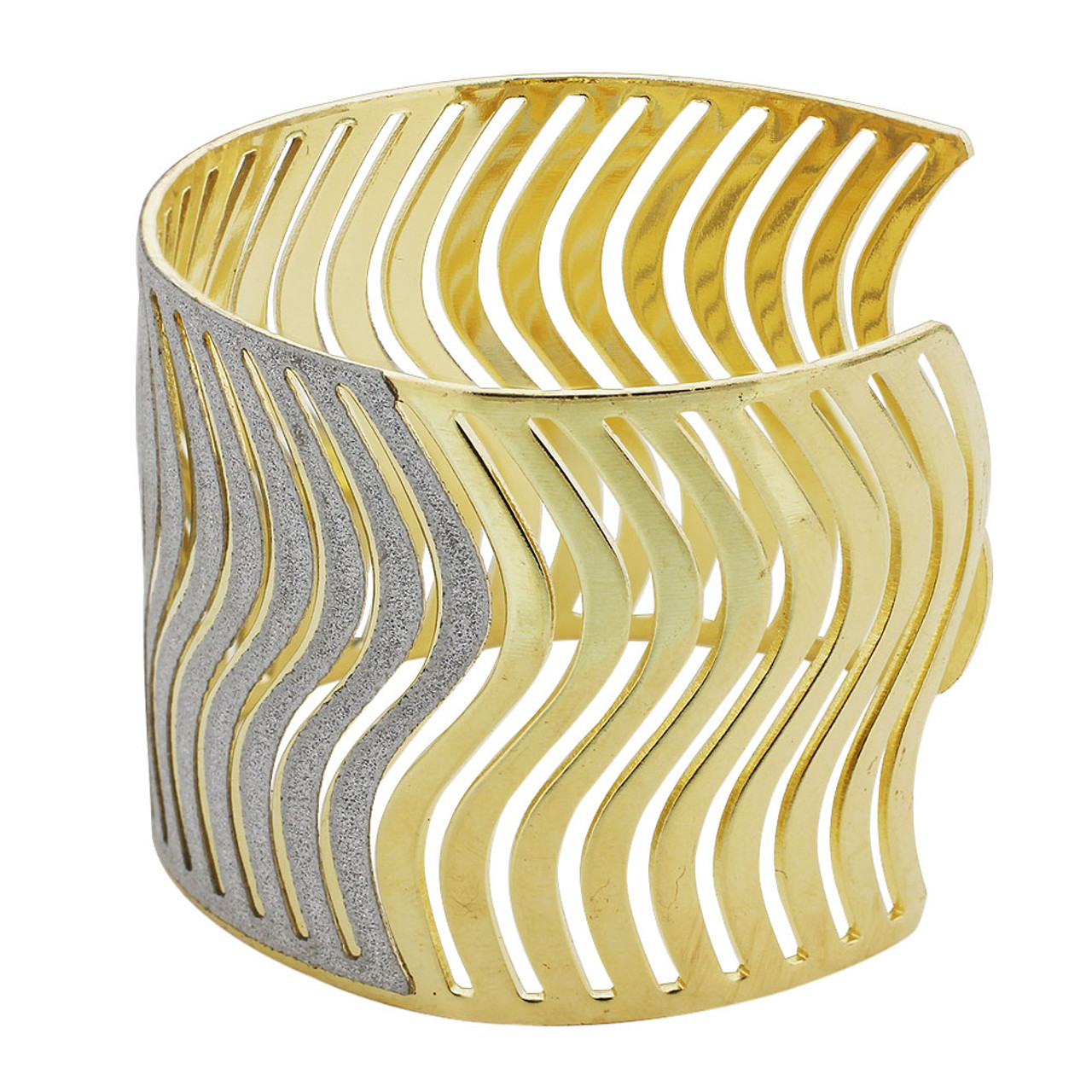 Gold Tone Paved Curvy Silver Dust Texture Cuff Bracelet