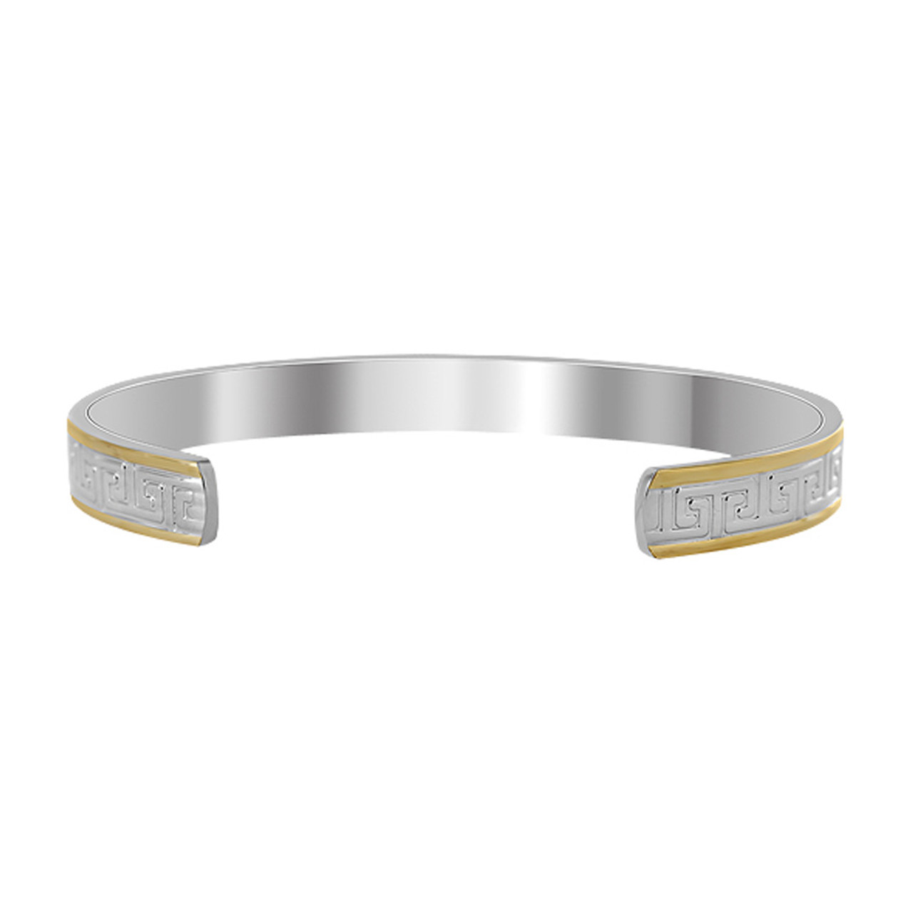 Two Tone Greek Design Engraved 8mm Wide Magnetic Therapy Cuff 6.5 inch Bracelet