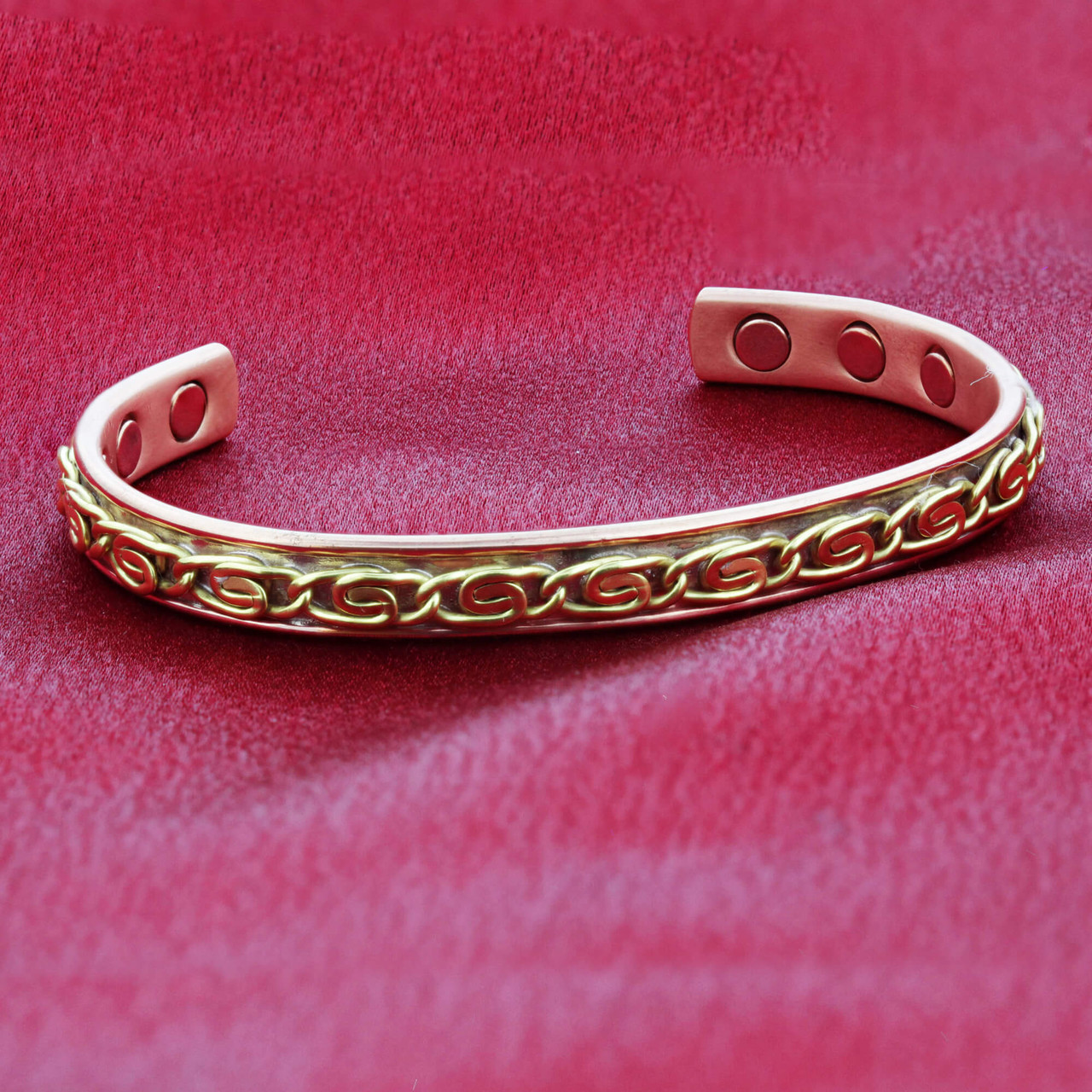 Magnetic Copper Clad Cuff Bracelet with Chain Design on Top