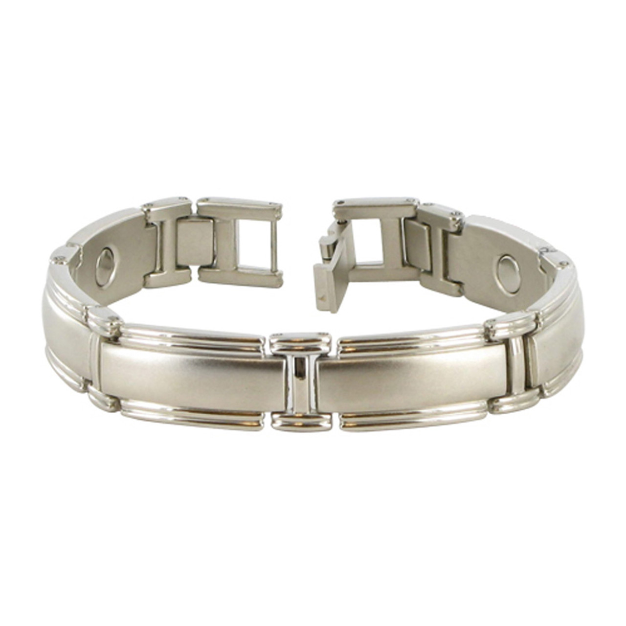 Men's Silver Tone Link Magnetic Therapy Bracelet with Fold over Clasps
