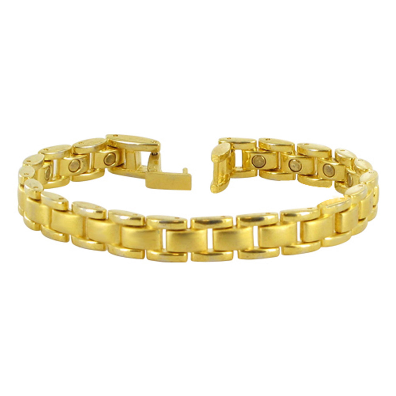 Gold Tone Magnetic Therapy Link 8.5 inch Bracelet with Fold over Clasps