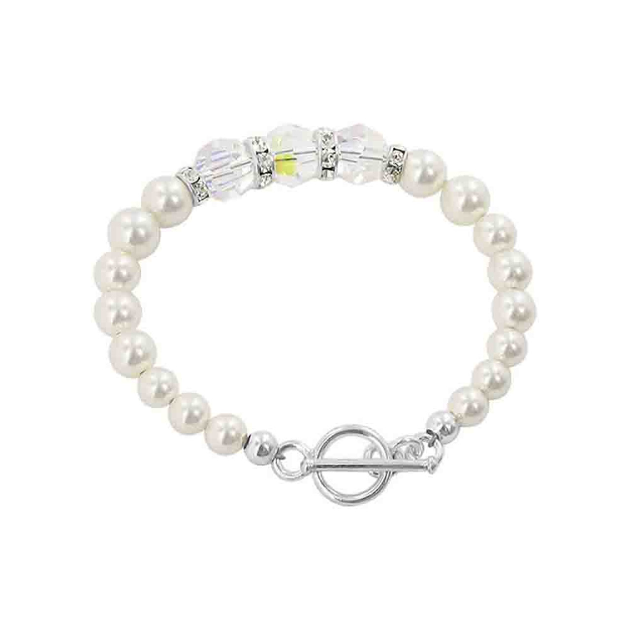 Silver White Pearl with Clear AB Swarovski Crystal Bracelet