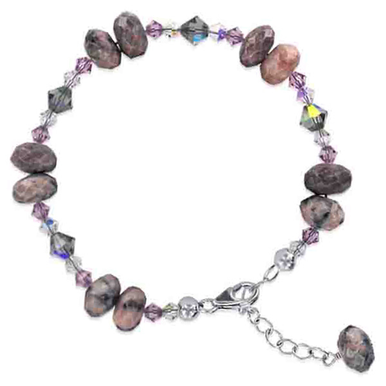 c91a6aed5d03 925 Sterling Silver Swarovski Elements Crystal with Pink Purple and Bead  Handmade Bracelet 7 to 9