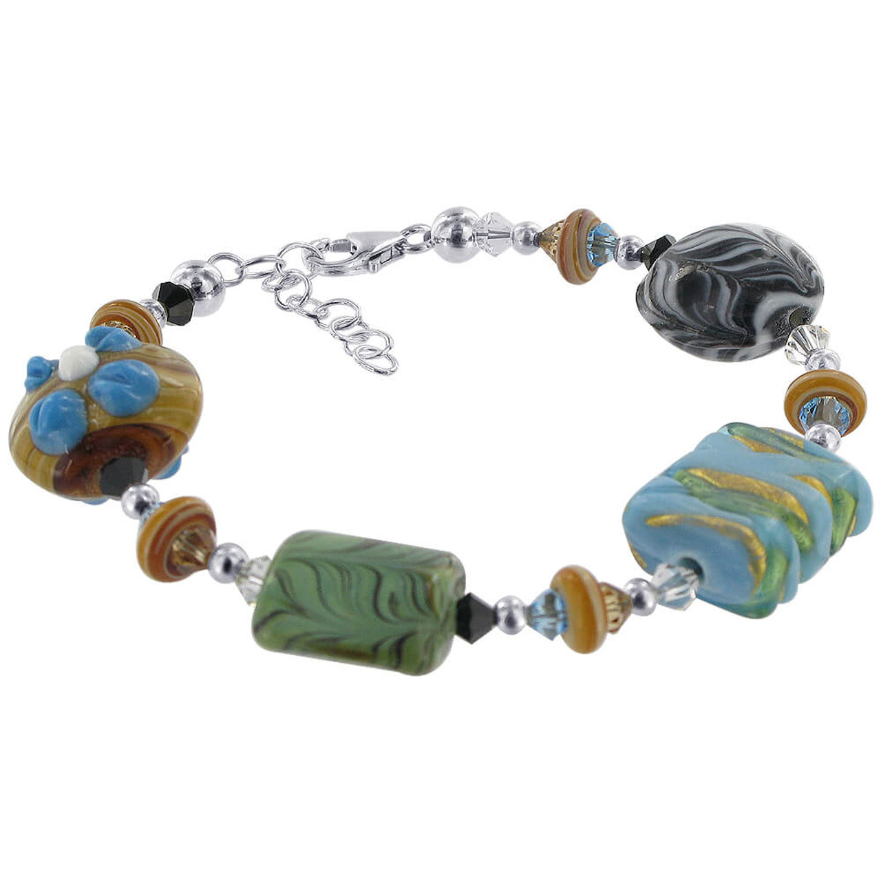 925 Sterling Silver Glass Beads with Crystal Handmade Bracelet