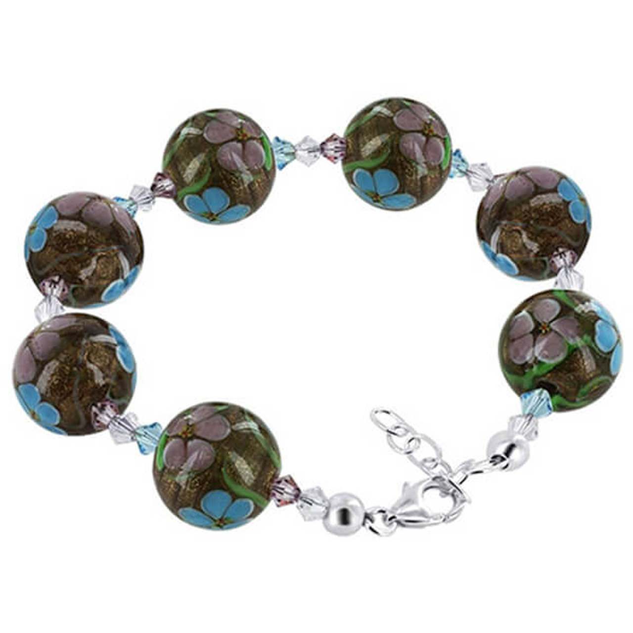 Millefiori Glass Pink and Blue Floral Beads Crystal Bracelet