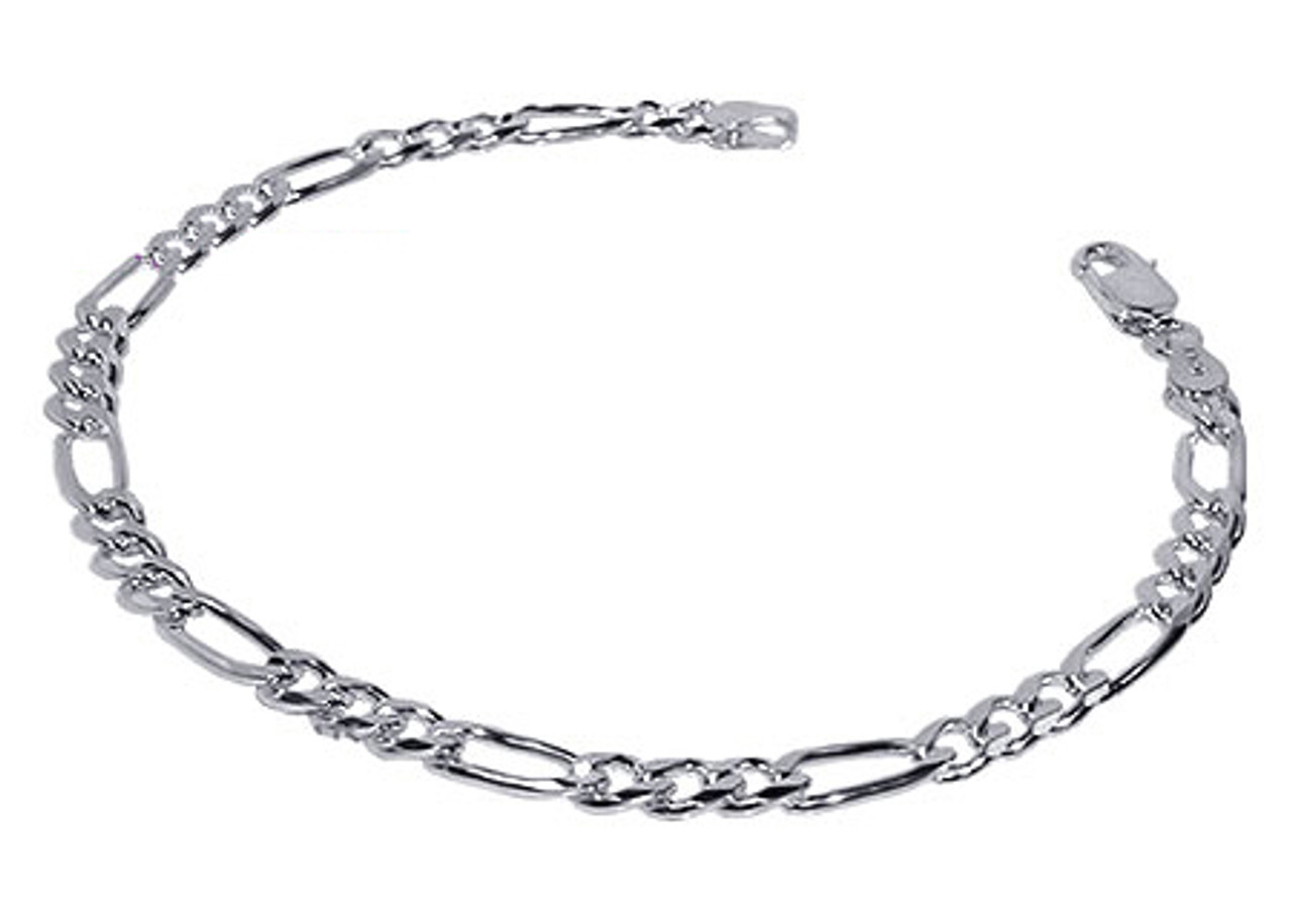 925 Sterling Silver 4mm Figaro Link Unisex Bracelet 7, 8, 9 Inch With Lobster Clasp