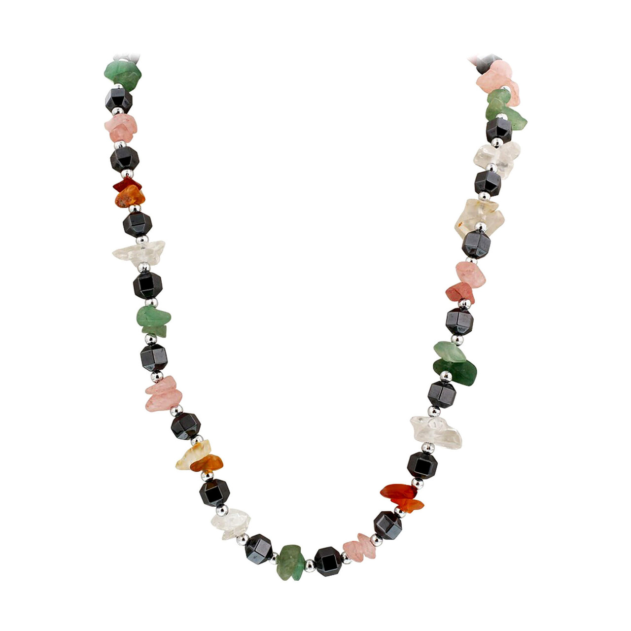 Natural and Simulated Multi Stone Necklace