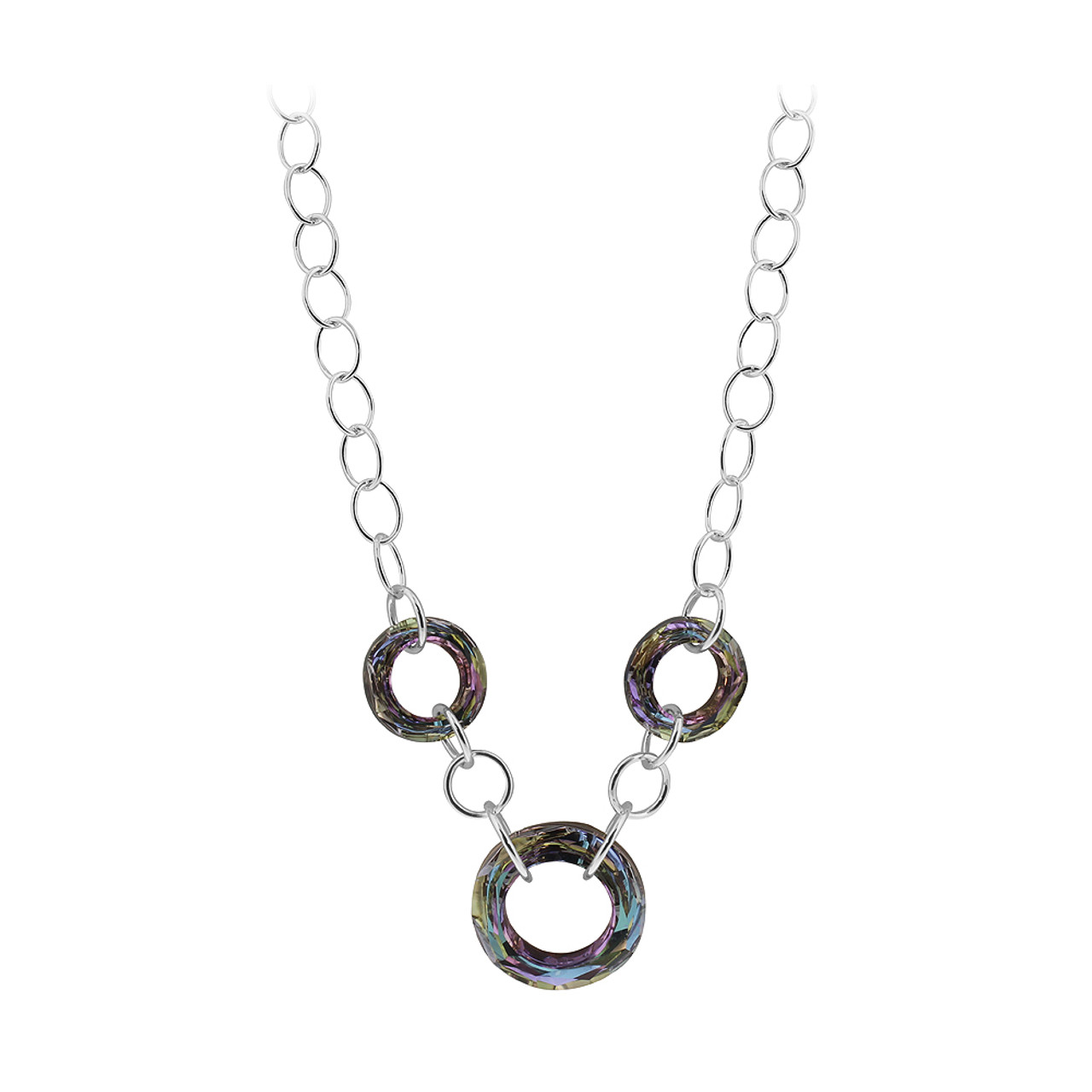 5450db2dc542 Sterling Silver Light Vitrail Faceted Round Crystal Necklace 16 ...