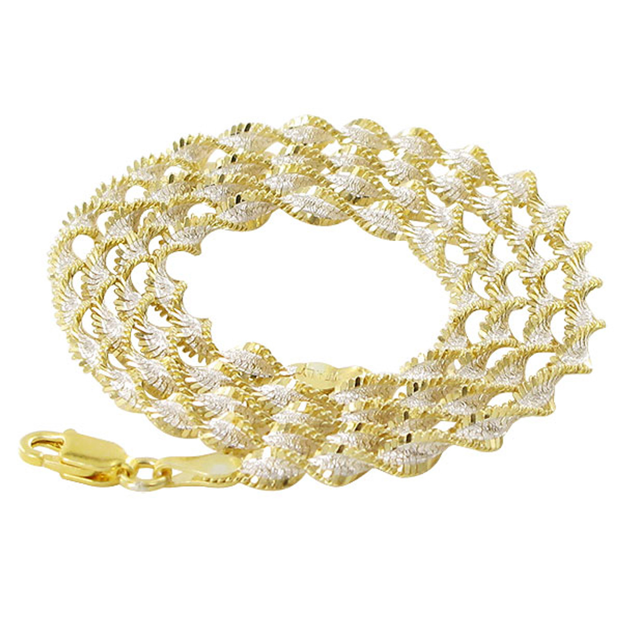 18k Gold over Silver 3mm Twisted Chain Necklace