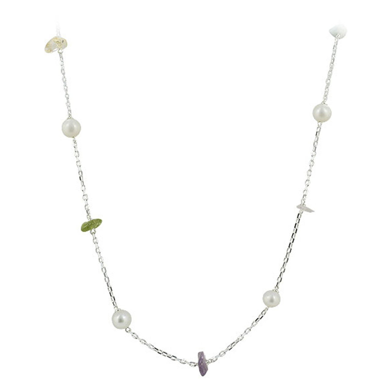 925 Sterling Silver Freshwater Pearls Chips Necklace