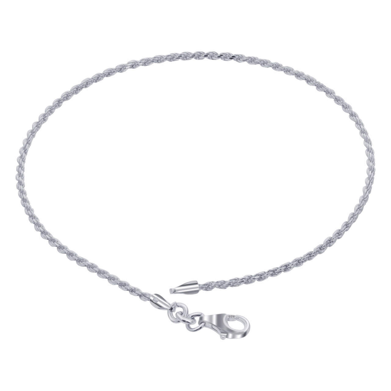 925 Sterling Silver Solid Rope Chain Ankle Bracelet