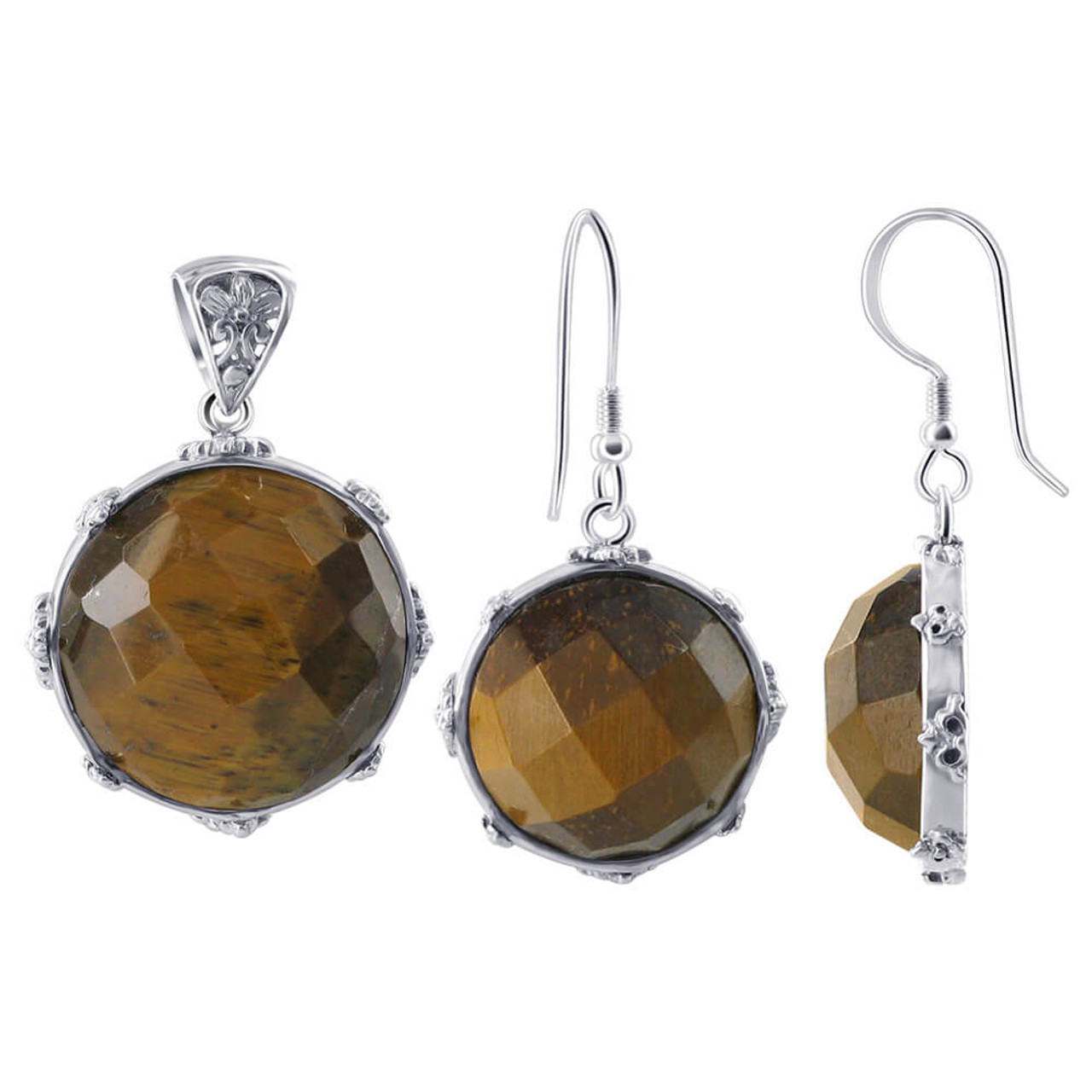 Tiger Eye Earrings Pendant Se